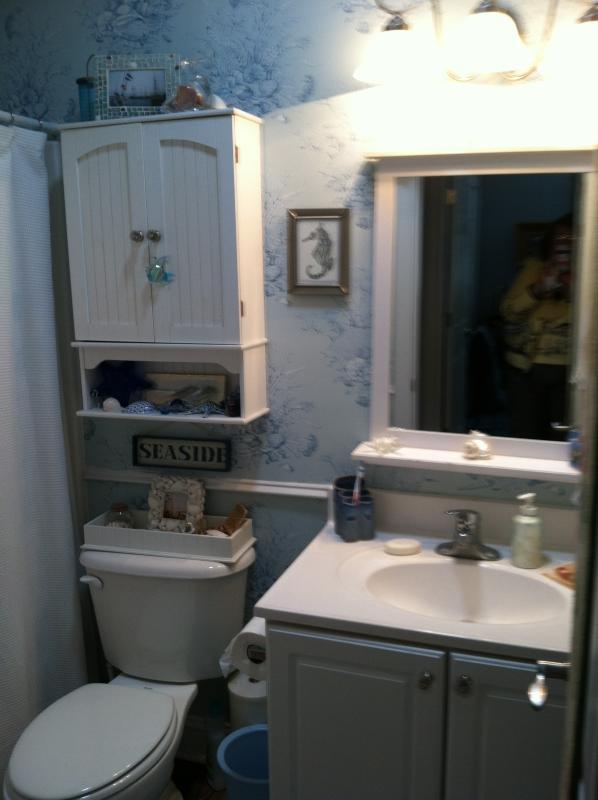 Bain dans la salle de bain avec baignoire / douche combo et tout ce dont vous avez besoin.