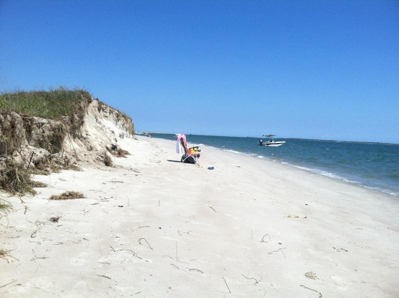 Quiet beach on the ocean side of Carrot Island- just a 10 minute boat ride from downtown.