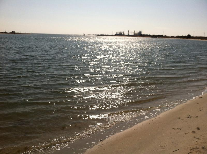 Our nearest public beach at Radio Island about 2 miles away- looking towards Ft. Macon