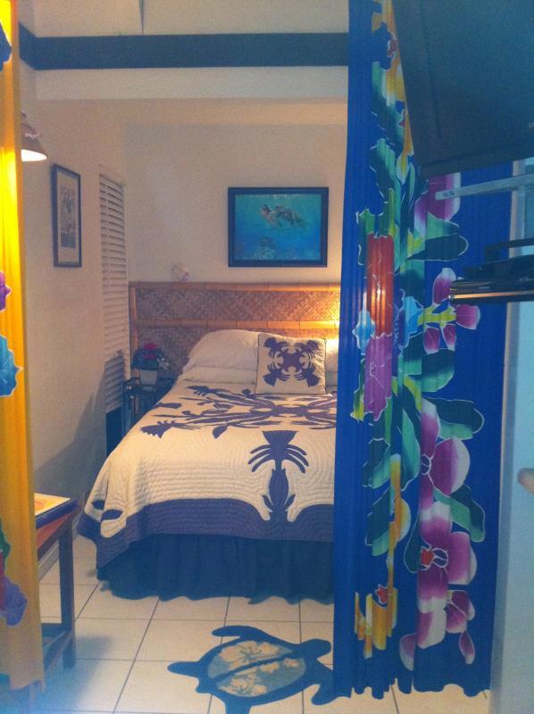 Bedroom with new queen mattress