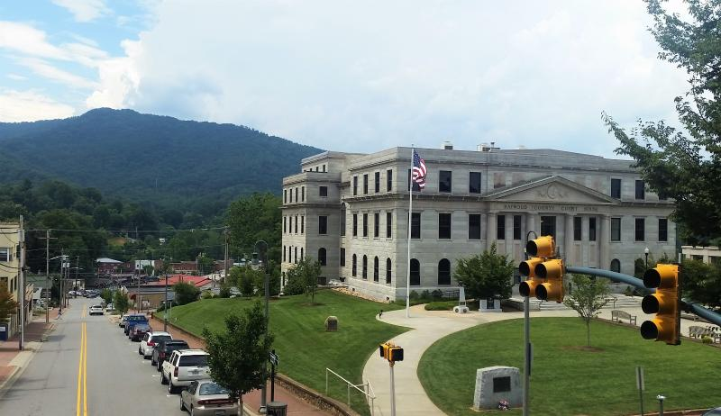 Views of the Great Smoky Mountains and historic downtown Waynesville