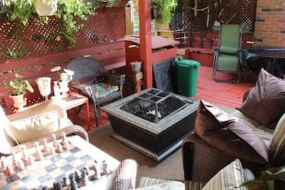 Fire pit and free wood and chess