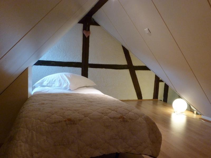 Le grenier de couchage avec le bz en vis à vis du lit double.