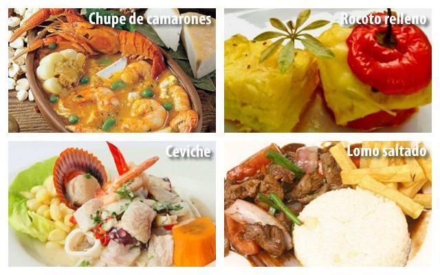 Comida peruana e Arequipenian em 'picanterias' e em casa.