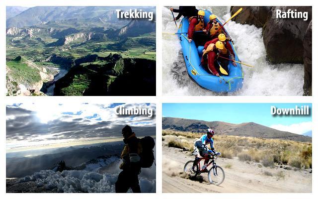 Prática de esportes de aventura.