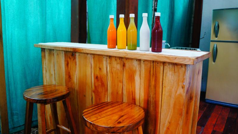Our new handmade breakfast bar, the perfect place to enjoy hand-pressed juice from the local market