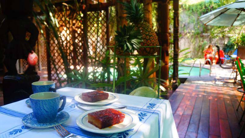 Enjoy an afternoon snack with coffee and banana breads from the local women next door