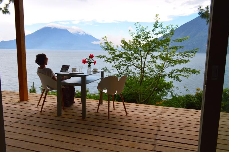 wooden deck overlooking the lake Atitlan