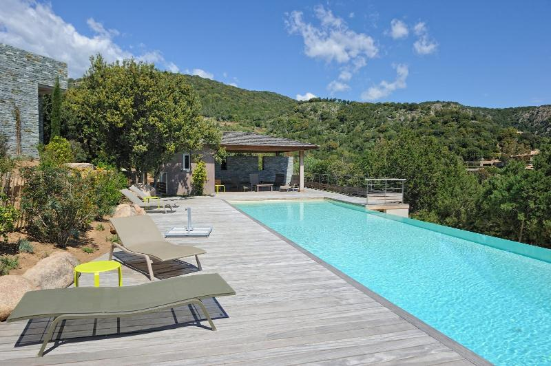Pool deck furnished with sun loungers and a pool house