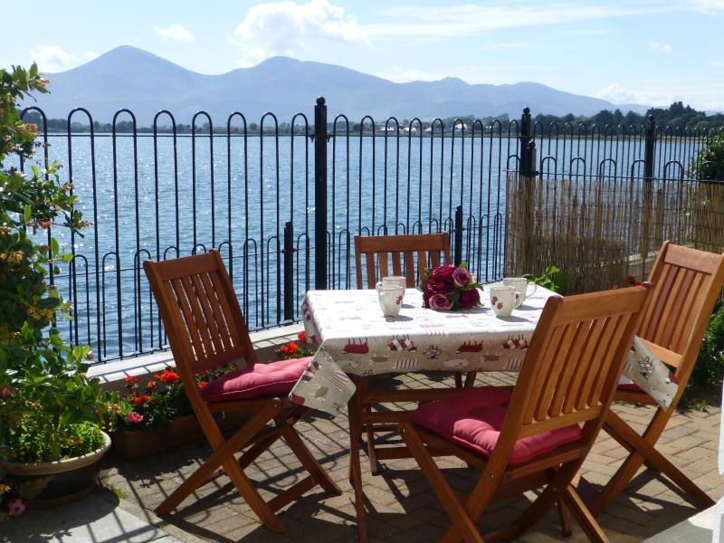 Wonderful view from the patio across Murlough Bay to the Mourne Mountains