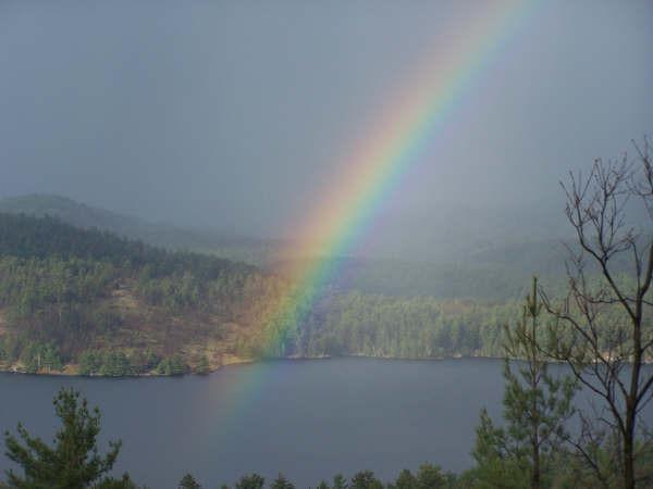 A rainbow through the rain.