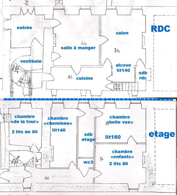le plan de la maison (RDC et étage) avec la dimension des lits