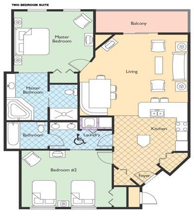 Condo plattegrond (2e slaapkamer heeft ofwel 2 tweepersoonskamers of één koningin)