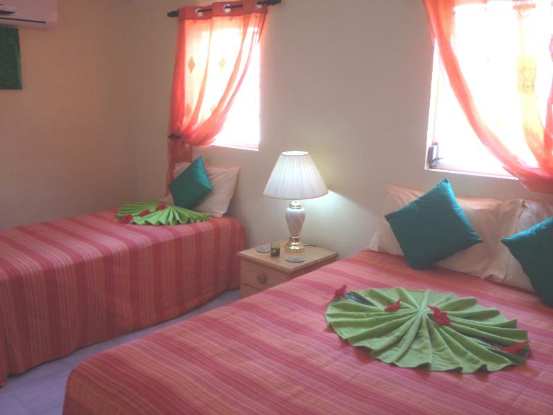 Guest bedroom with one queen bed and one twin bed sleeping 3 with AC, fan and En-suite shower room