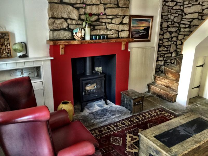 Relax by the fire in the cosy living room!