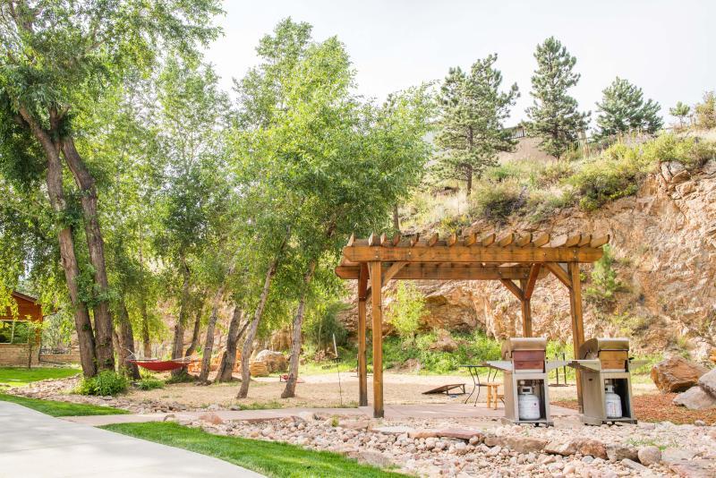 Vår parkområde med propan grillar, trä brinnande brand gropar, hängmatta och gården spel