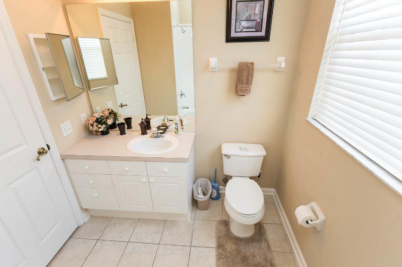 Banheiro. Chuveiro sobre a banheira