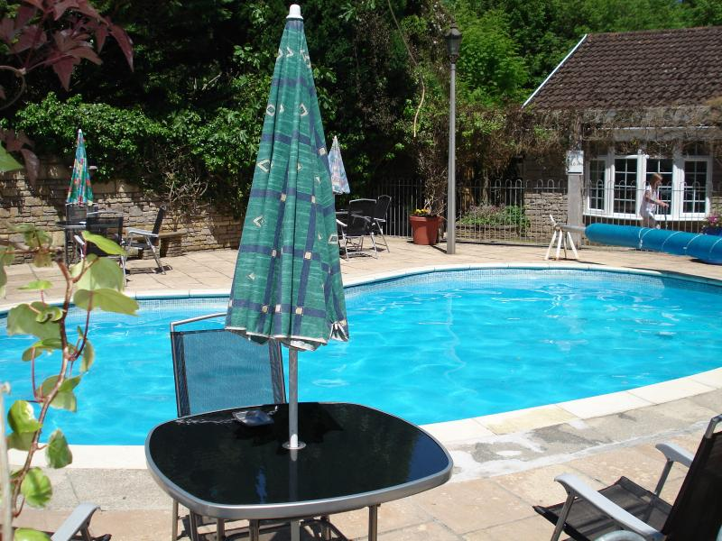 We provide tables, chairs and sun loungers around the pool