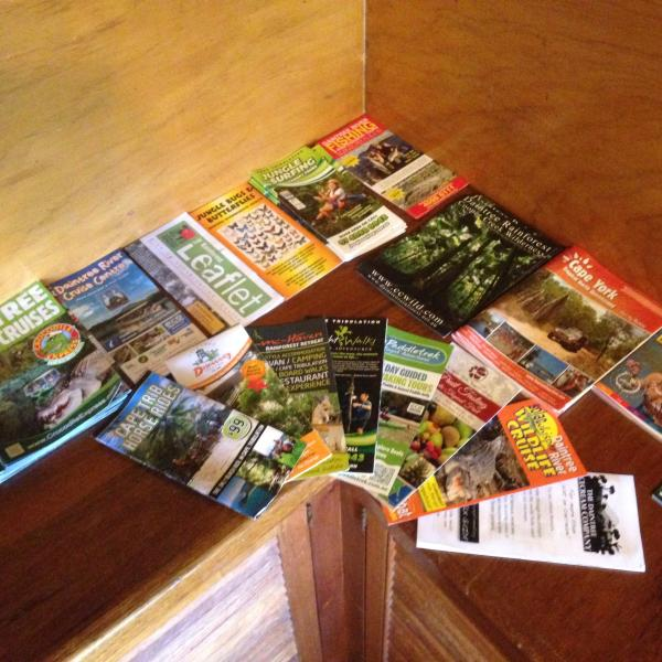 Plenty of brochures of activities to do in the daintree national park