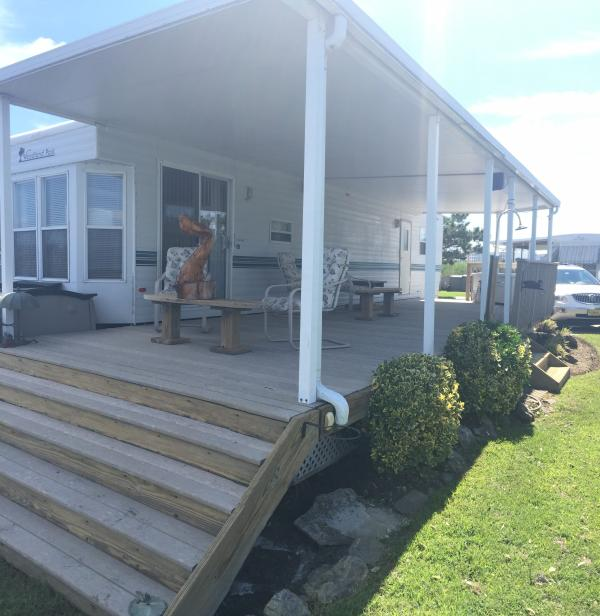 Large deck with awning