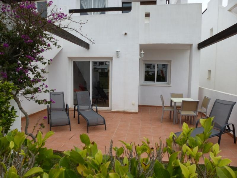 3 Sun Loungers plus outside table and 4 chairs for your comfort