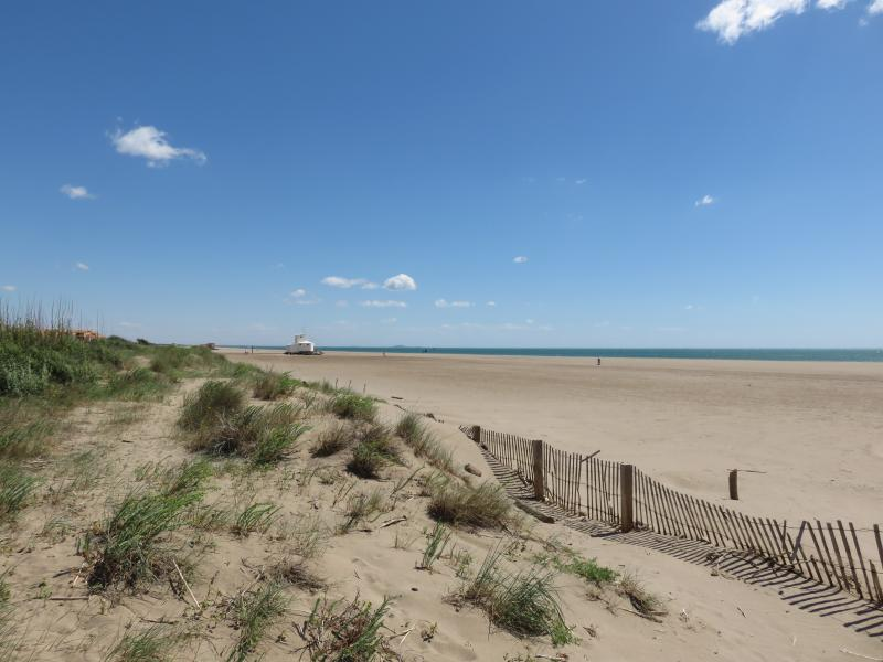 Wide, long St Pierre beach: no need to reserve a spot or swim in a crowded pool.