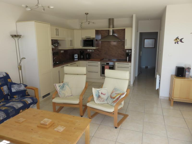 Spacious, light and airy open plan kitchen, living and dining area