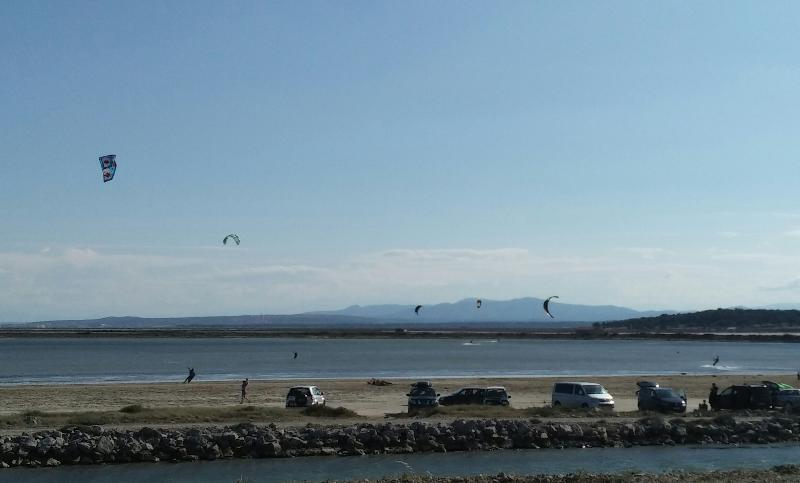 St Pierre hosts European Junior Kitesurfing champs.  Many lagoons close, this is  Guissan.
