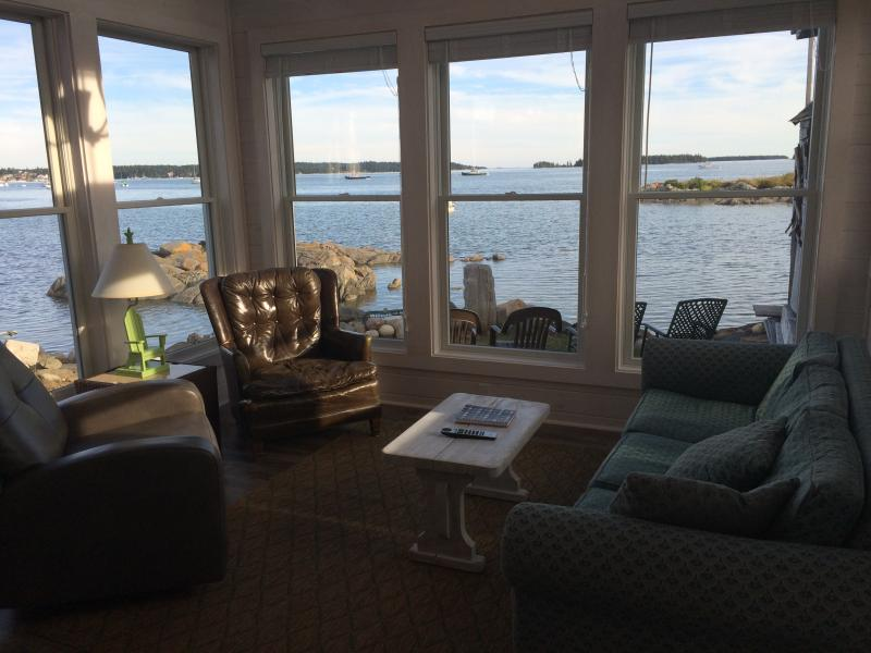 View from living room of ocean and islands