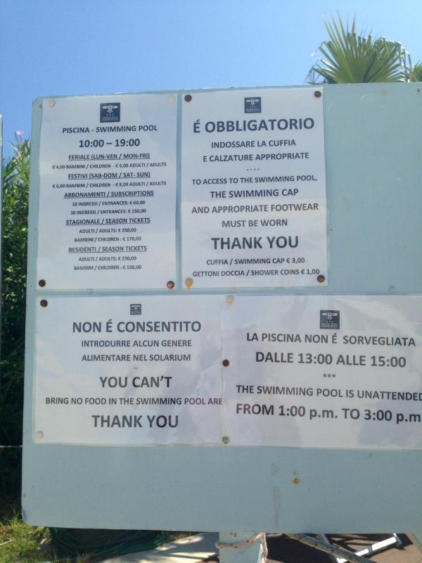 Regolamento orari e tariffe piscina