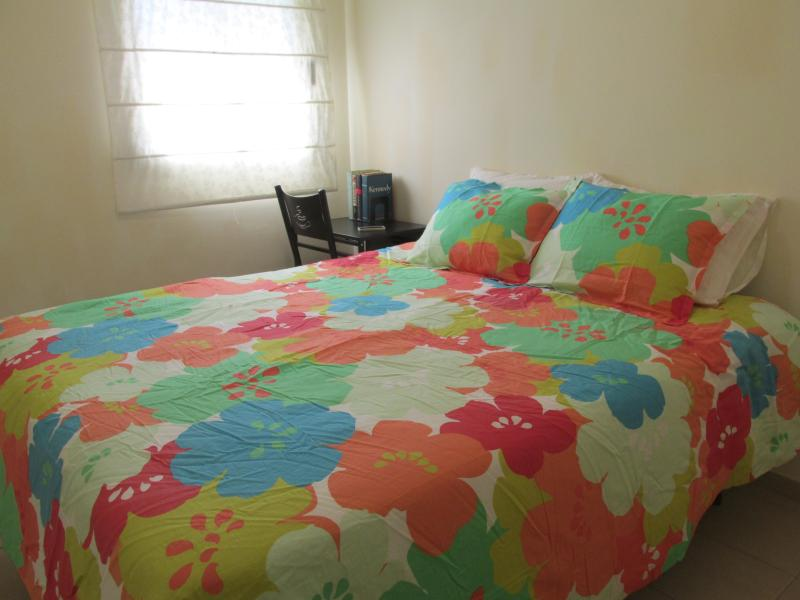 Brand new queen size bed in sun-swept room, comfortable for two or can be made up as twin beds.