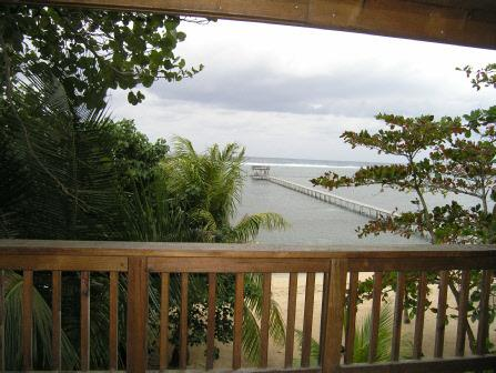 The view from one of our Oceanview Balconies - SeaDancer Beach, Dock and the Reef.