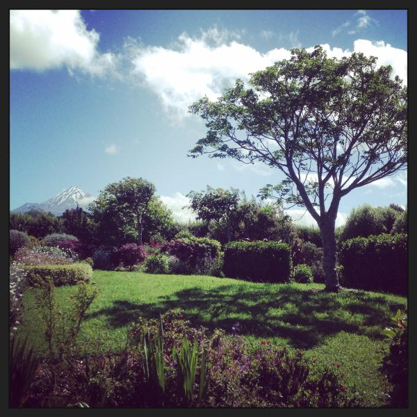 Beautiful country garden with views of Mt Taranaki