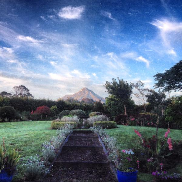 Large country garden with views of Mt Taranaki