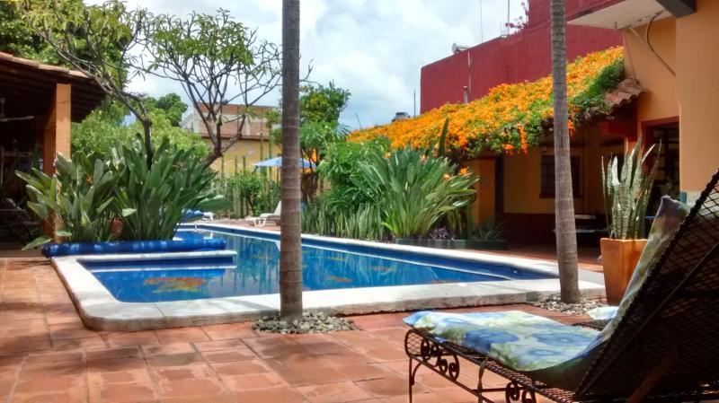 Uitzicht vanuit de Villa del Sol van het zwembad en de patio van de vogel van Pardise.