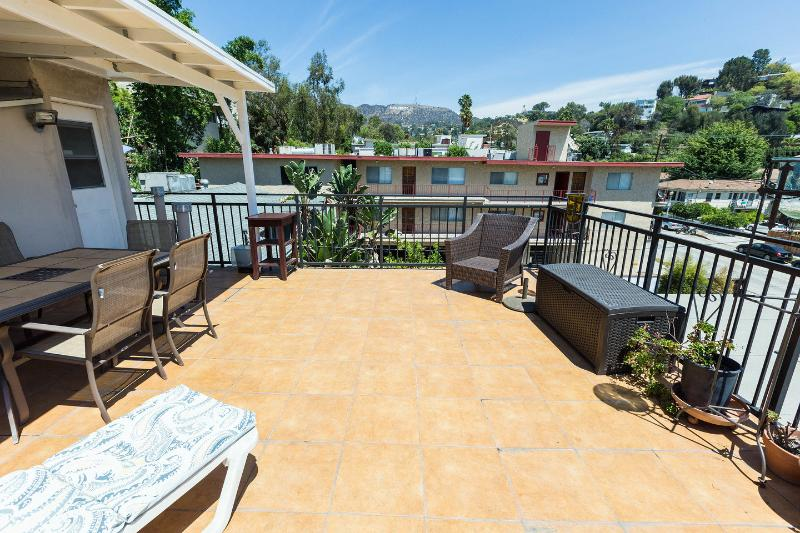 Patio overlooking Beachwood Canyon & 'HOLLYWOOD'