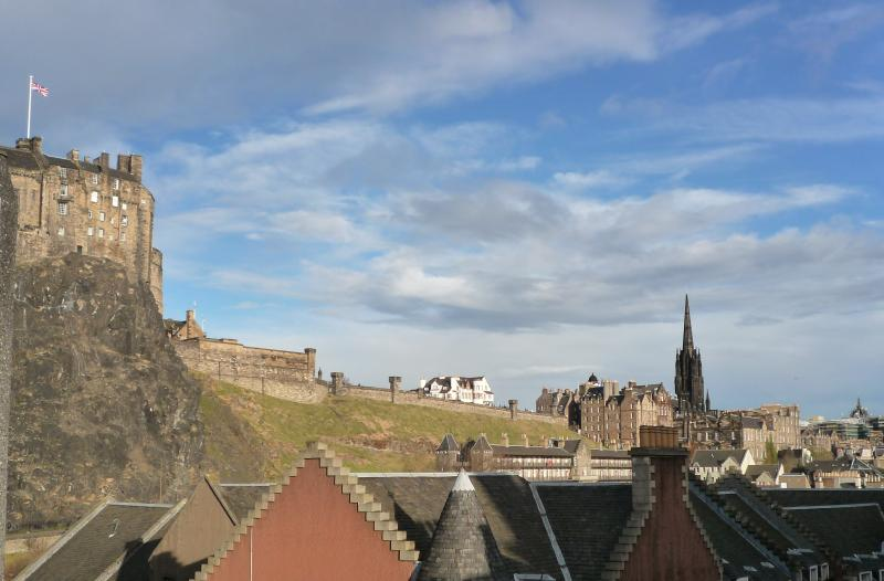 View of Edinburgh castle esplanade from living-room window