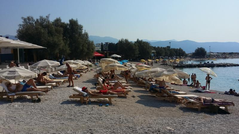 There are several beaches 500 meters from the apartment. Every beach has deck chairs and umbrellas.