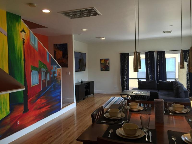 Open area flows into living room