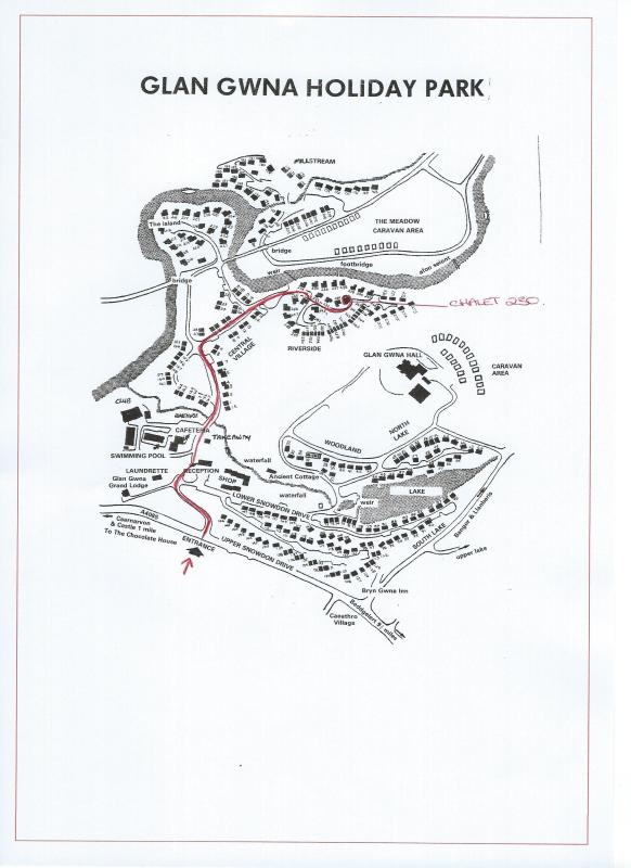 SITE MAP. The Chalet is located on a flat area of the park. No Steps or Hills to climb for access.