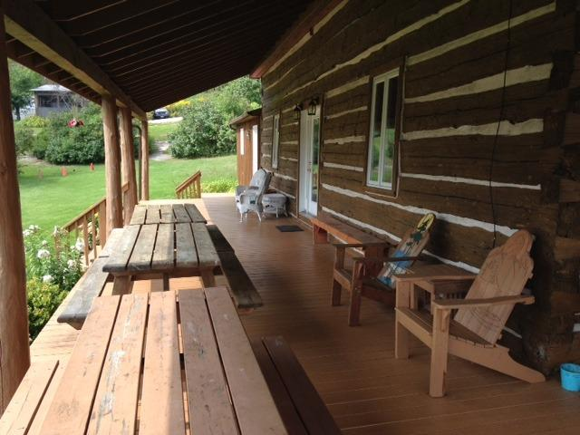 The deck on the side of the Lodge facing south.