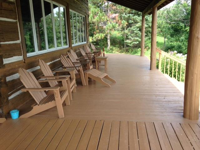The deck on the east side of the Lodge, facing the morning sun and Norcan Lake.
