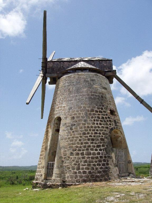 One of the renovated sugar mills at Betty's Hope, with museum and ruins