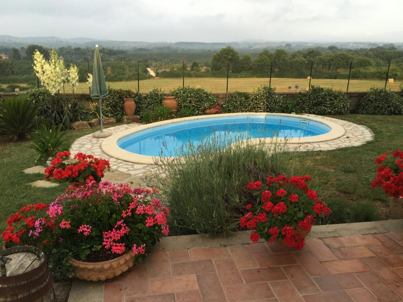Pool and garden with stunning panoramic views, terrace