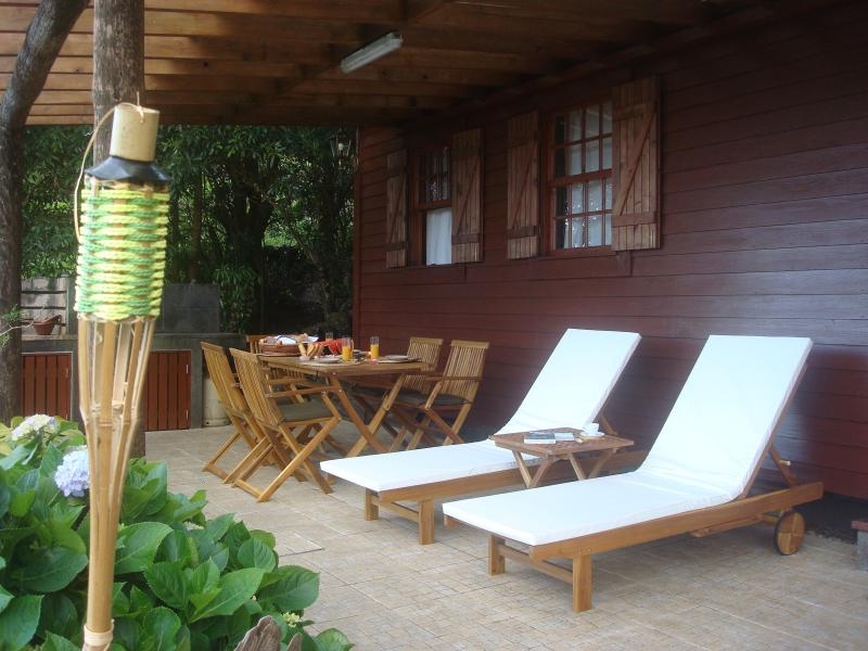 Large terrace with garden furniture, barbecue and wood oven
