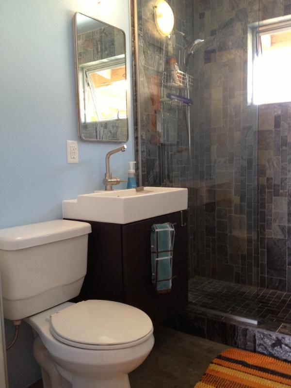 banheiro com ducha de pedra artística