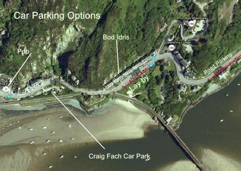 Bod Idris is near to parking and harbour cafes & pubs