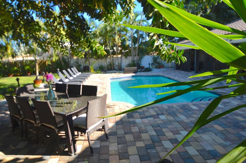 Spectacular Private Lounge Offers Large Heated Pool, Chaise Lounges, Dining (8), BBQ + Water Views