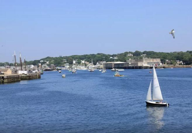 Great views of boats and ships sailing by.