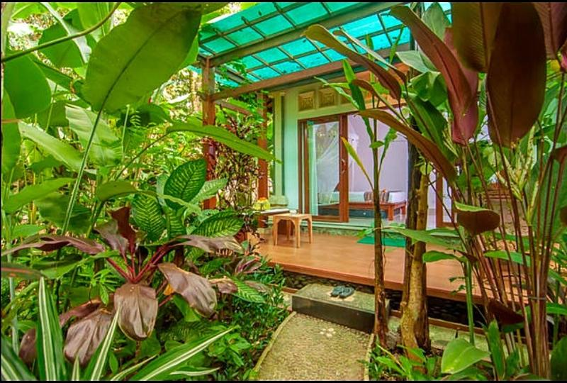 The villa is surrounded by lush tropical garden
